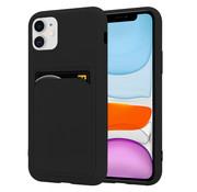 ShieldCase® iPhone 12 siliconen hoesje met pasjeshouder (zwart)