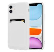ShieldCase® iPhone 12 siliconen hoesje met pasjeshouder (wit)
