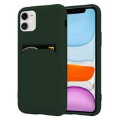 ShieldCase® iPhone 12 siliconen hoesje met pasjeshouder (donkergroen)