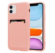 ShieldCase® iPhone 12 siliconen hoesje met pasjeshouder (roze)