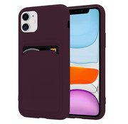 ShieldCase® iPhone 12 siliconen hoesje met pasjeshouder (aubergine)
