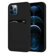 ShieldCase® iPhone 12 Pro siliconen hoesje met pasjeshouder (zwart)