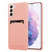 ShieldCase® Samsung Galaxy S21 Plus siliconen hoesje met pasjeshouder (roze)