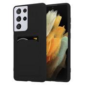 ShieldCase® Samsung Galaxy S21 Ultra siliconen hoesje met pasjeshouder (zwart)