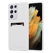 ShieldCase® Samsung Galaxy S21 Ultra siliconen hoesje met pasjeshouder (wit)