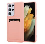 ShieldCase® Samsung Galaxy S21 Ultra siliconen hoesje met pasjeshouder (roze)
