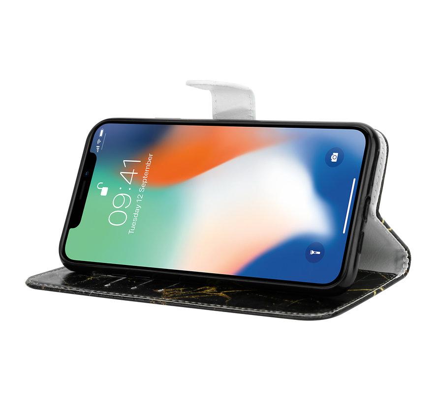 Shieldcase Amazing Black Marmer iPhone X / Xs Bookcase