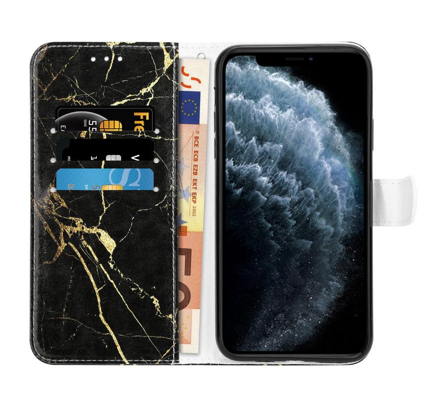 Shieldcase Amazing Black Marmer iPhone 12 Pro Bookcase