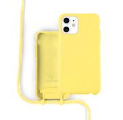 Coverzs Silicone case met koord iPhone 12 / 12 Pro (Geel)