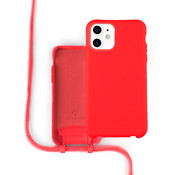 Coverzs Silicone case met koord iPhone 12 / 12 Pro (Rood)
