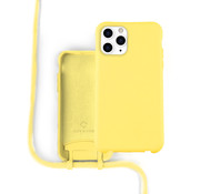 Coverzs Silicone case met koord iPhone 11 Pro Max (Geel)