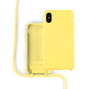 Coverzs Silicone case met koord iPhone X / Xs (Geel)