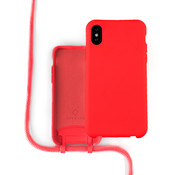 Coverzs Silicone case met koord iPhone X / Xs (Rood)