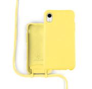 Coverzs Silicone case met koord iPhone Xr (Geel)
