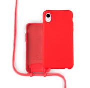 Coverzs Silicone case met koord iPhone Xr (Rood)