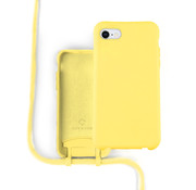 Coverzs Silicone case met koord iPhone 7/8/SE2020 (Geel)