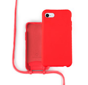 Coverzs Silicone case met koord iPhone 7/8/SE2020 (Rood)