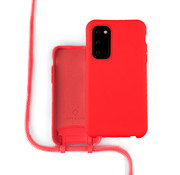 Coverzs Silicone case met koord Samsung Galaxy S20 (Rood)