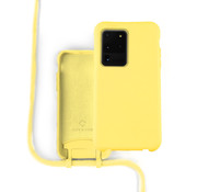 Coverzs Silicone case met koord Samsung Galaxy S20 Ultra (Geel)