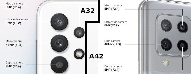 Camera Galaxy A32 vs A42 specs