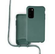 Coverzs Silicone case met koord Samsung Galaxy S20 FE (donkergroen)