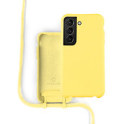 Coverzs Silicone case met koord Samsung Galaxy S21 (geel)