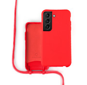 Coverzs Silicone case met koord Samsung Galaxy S21 (rood)