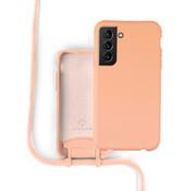 Coverzs Silicone case met koord Samsung Galaxy S21 (oranje)