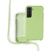 Coverzs Silicone case met koord Samsung Galaxy S21 (lichtgroen)