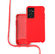 Coverzs Silicone case met koord Samsung Galaxy S21 Ultra (rood)