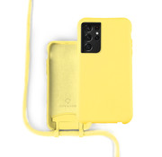 Coverzs Silicone case met koord Samsung Galaxy S21 Ultra (geel)