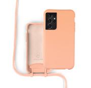 Coverzs Silicone case met koord Samsung Galaxy S21 Ultra (oranje)