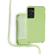 Coverzs Silicone case met koord Samsung Galaxy S21 Ultra (lichtgroen)
