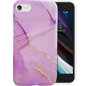 ShieldCase® Marmer paars iPhone 7 / 8 hoesje met camerabescherming (paars)