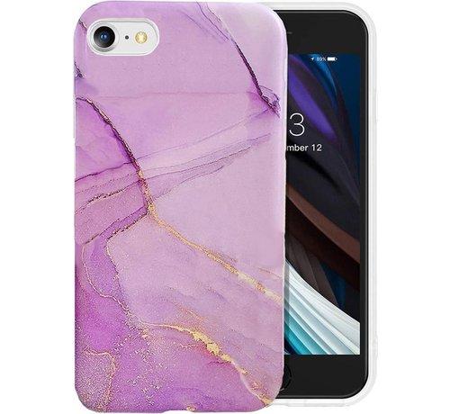 ShieldCase® ShieldCase Marmer paars iPhone 7 / 8 hoesje met camerabescherming (paars)