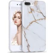 ShieldCase® marmer wit Marmer iPhone 7 / 8  Plus hoesje (wit/goud)