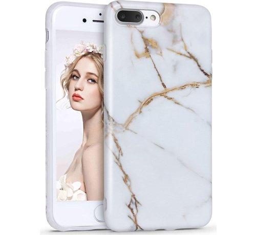 ShieldCase® ShieldCase marmer wit Marmer iPhone 7 / 8  Plus hoesje (wit/goud)