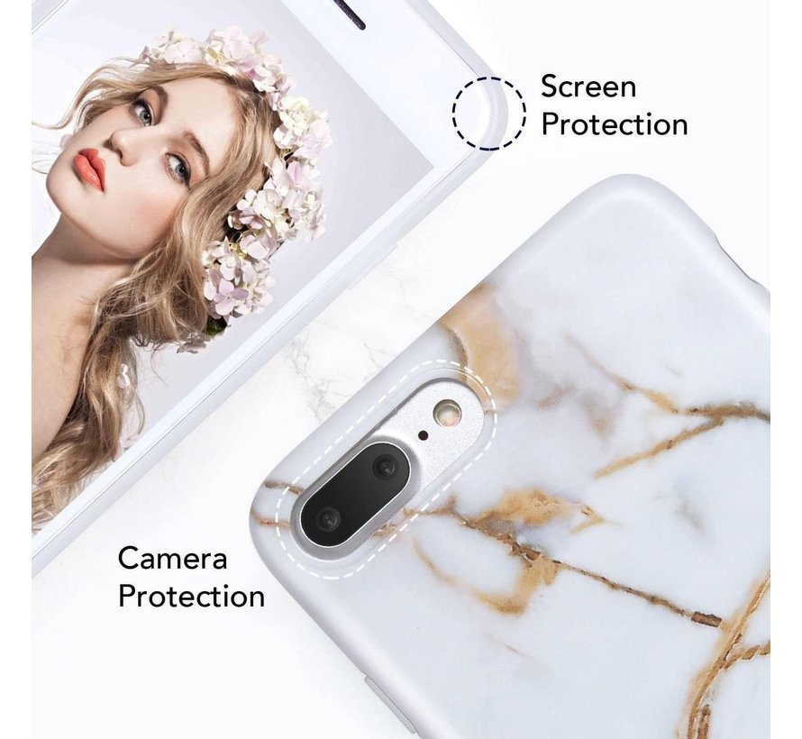 ShieldCase marmer wit Marmer iPhone 7 / 8  Plus hoesje (wit/goud)