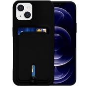 ShieldCase® iPhone 13 siliconen hoesje met pasjeshouder (zwart)