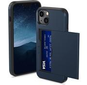 ShieldCase® Kaarthouder case met slide iPhone 13 (blauw)