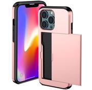 ShieldCase® Kaarthouder case met slide iPhone 13 Pro (roze)