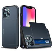 ShieldCase® Kaarthouder case met slide iPhone 13 Pro (blauw)