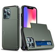 ShieldCase® Kaarthouder case met slide iPhone 13 Pro (groen)