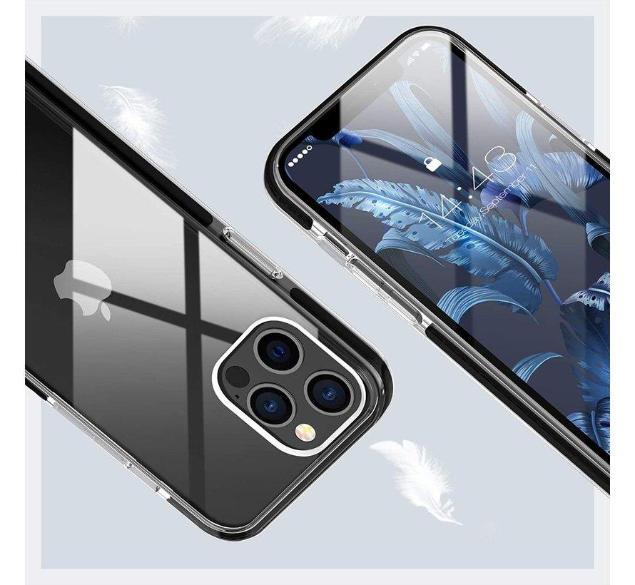 ShieldCase Bumper case iPhone 12/12 Pro - 6.1 inch (transparant-zwart)