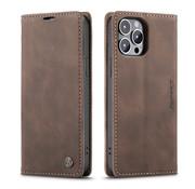 CaseMe Luxe bookcase iPhone 13 Pro (bruin)