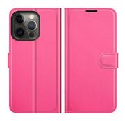 ShieldCase® iPhone 13 Pro wallet bookcase (roze)