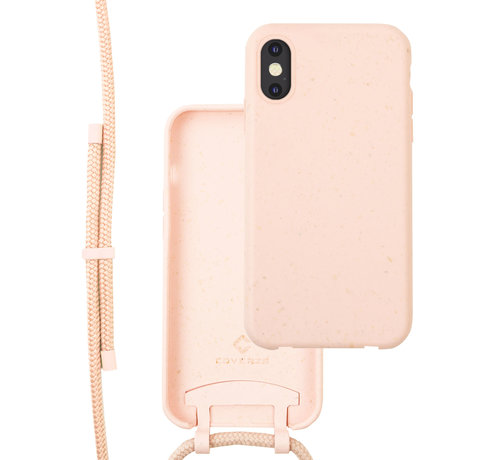 Coverzs Coverzs Bio silicone case met koord iPhone X/Xs (roze)