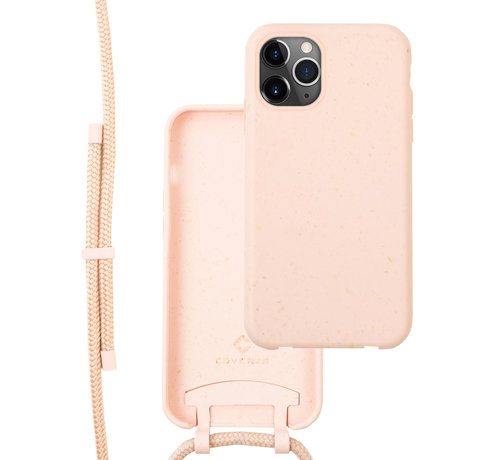 Coverzs Coverzs Bio silicone case met koord iPhone 11 Pro Max (roze)