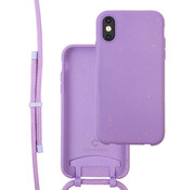 Coverzs Bio silicone case met koord iPhone X/Xs (paars)