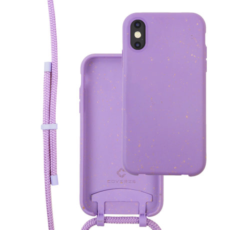 Coverzs Coverzs Bio silicone case met koord iPhone X/Xs (paars)
